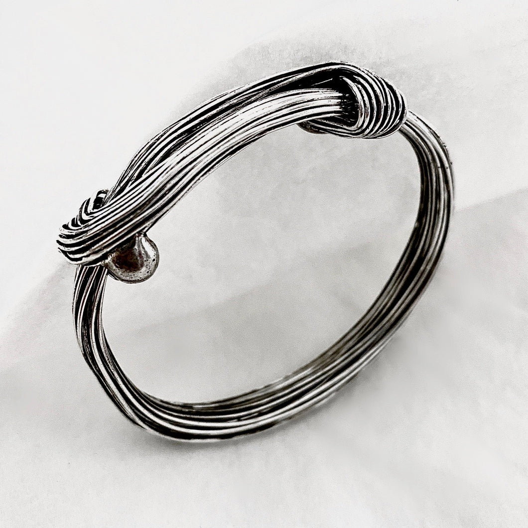 Hill Tribe • Silver Strand Wrap Bangle in black