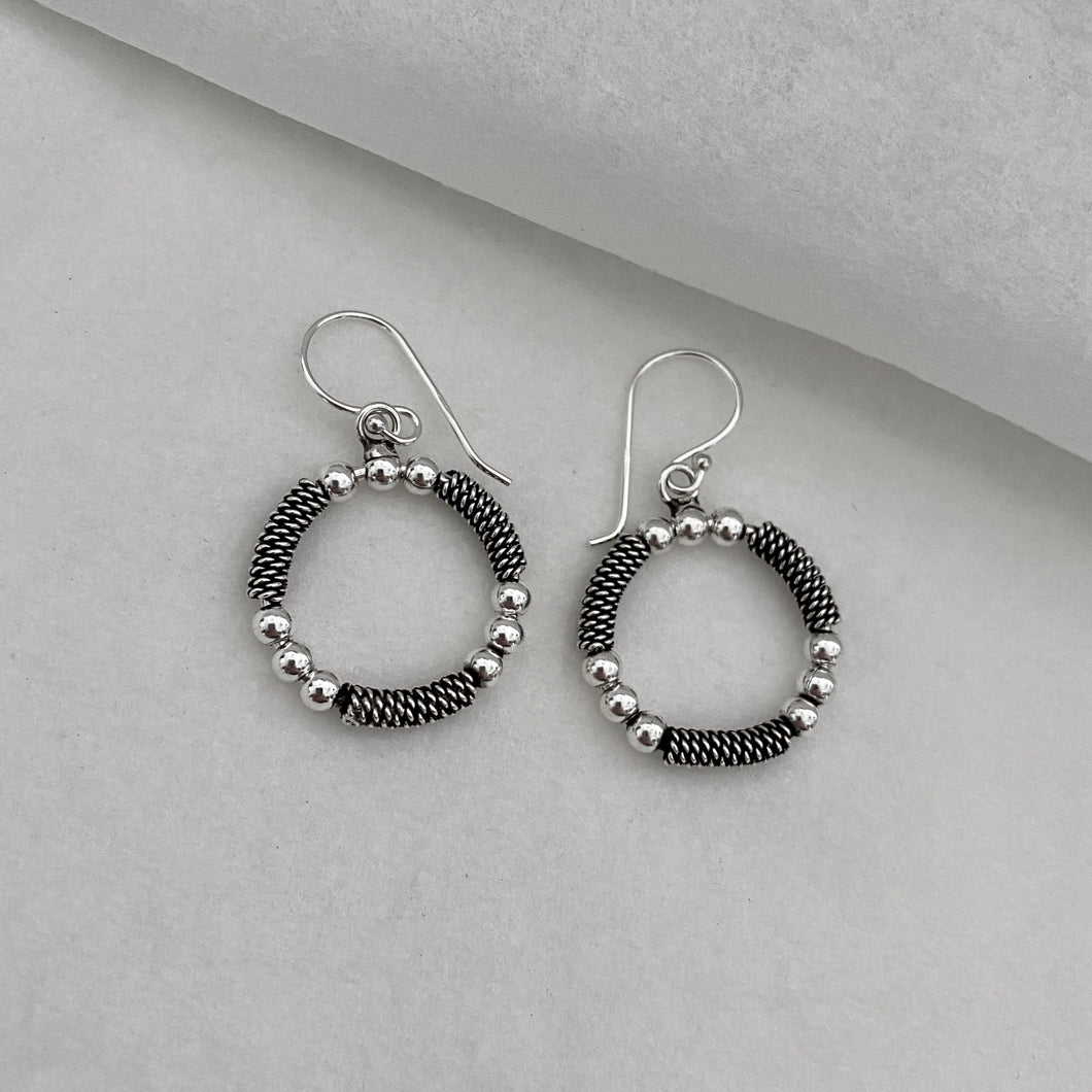 Hill Tribe • Akha Classic Bead and Twist Hoop Earrings