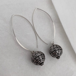 Noir • Classic Dok Phikoun Print Drop Earrings in Large