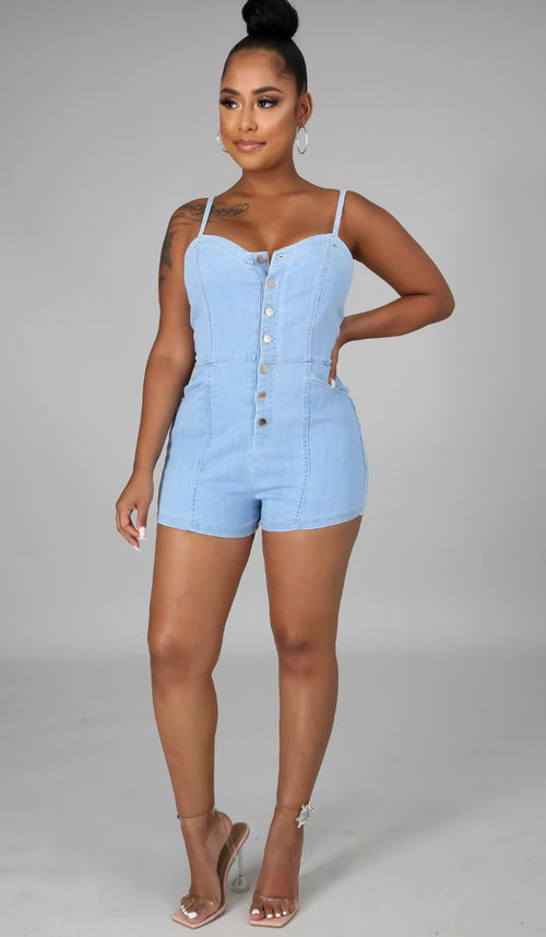 Rachel Light Denim Romper