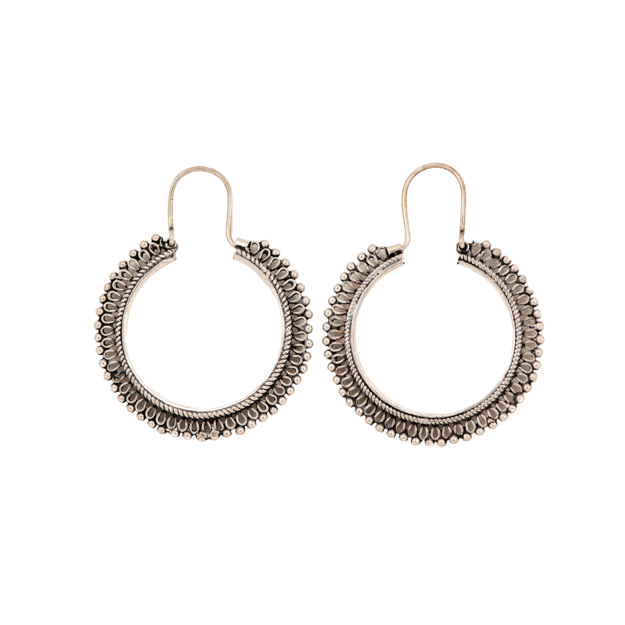 Scalloped Silver Hoops