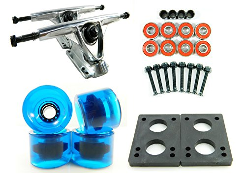 "180mm Polished Trucks + 70mm Solid/Gel Wheels + ABEC 7 Bearings + 1/4"" Riser Pads"