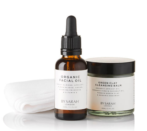 BY SARAH LONDON - Organic Facial Oil & Green Clay Cleansing Balm - all ingredients listed on front label