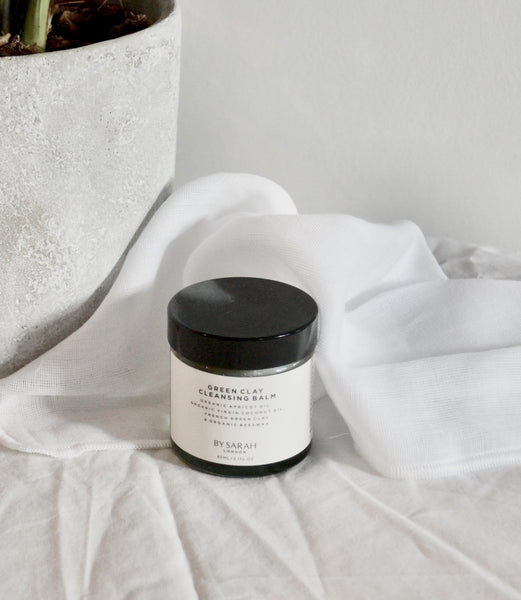 BY SARAH LONDON - Organic Muslin Facial Cloth and Green Clay Cleansing Balm