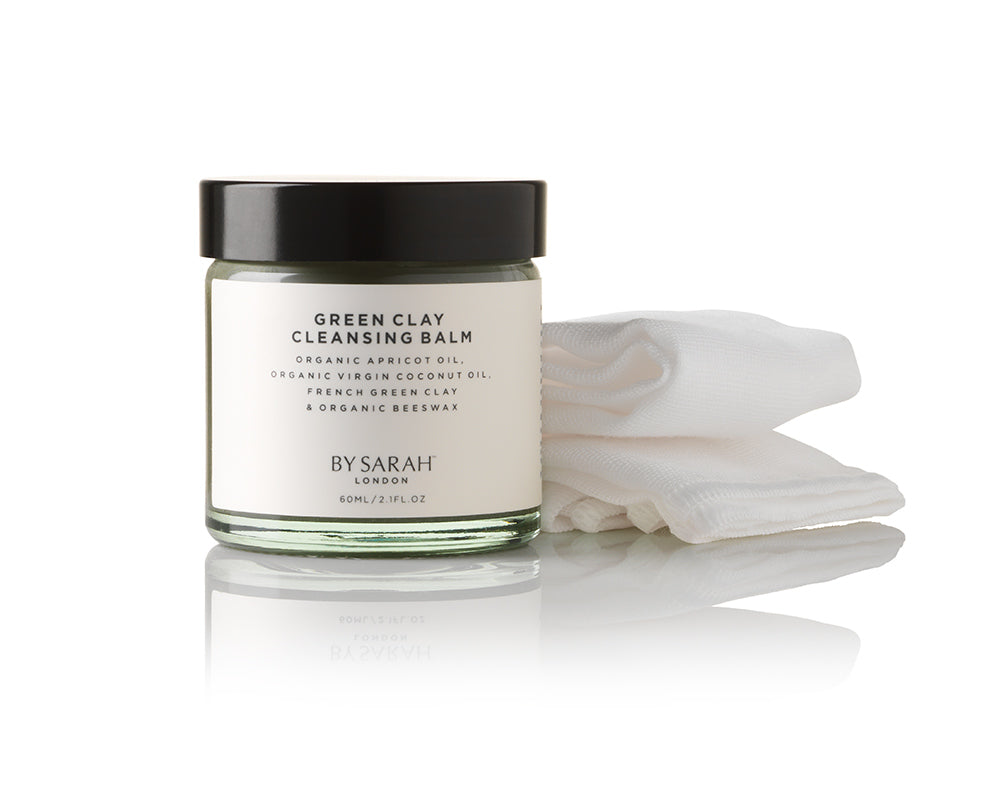 BY SARAH LONDON - Deluxe Travel Set - Green Clay Cleansing Balm and Organic Muslin Facial Cloth