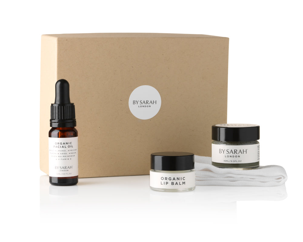 BY SARAH LONDON - Deluxe Travel Set - Organic Facial Oil, Green Clay Cleansing Balm, Organic Lip Balm & Organic Muslin Facial Cloth
