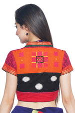 Dark Pink and Orange Cotton Ikkat Blouse - SvasaDesign