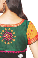 Green, Red and Black Cotton Handloom Blouse - SvasaDesign