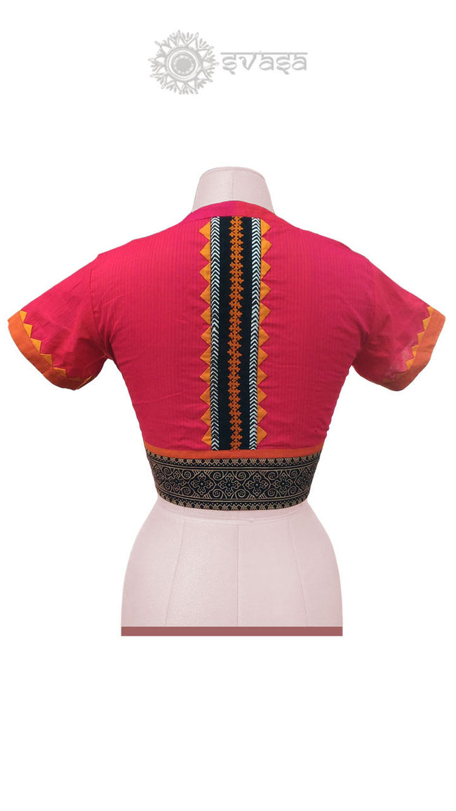 Red Colour Embroidery Blouse - SvasaDesign