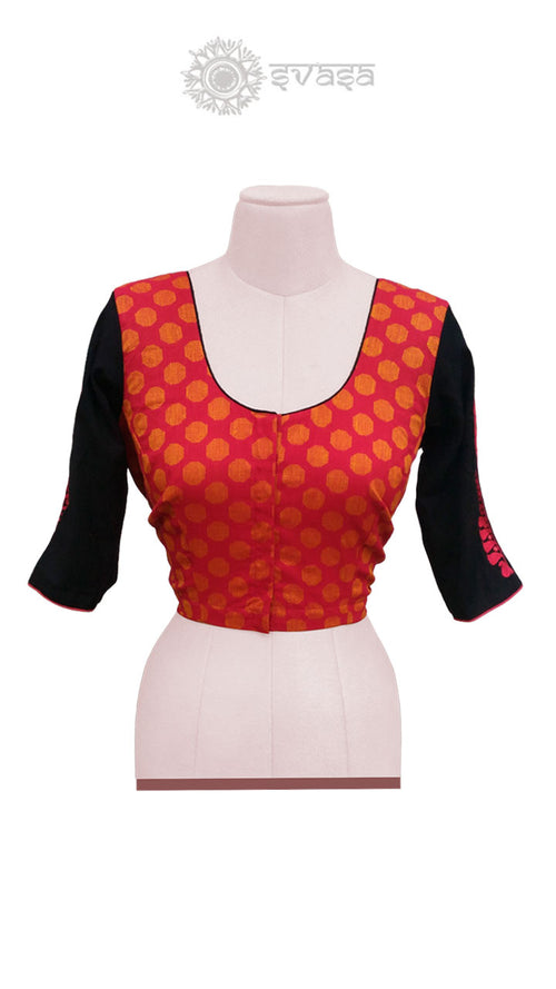 Red Orange and Black Blouse