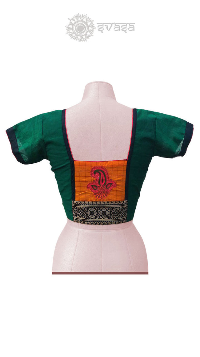 Green And Orange Embroidery Blouse - SvasaDesign