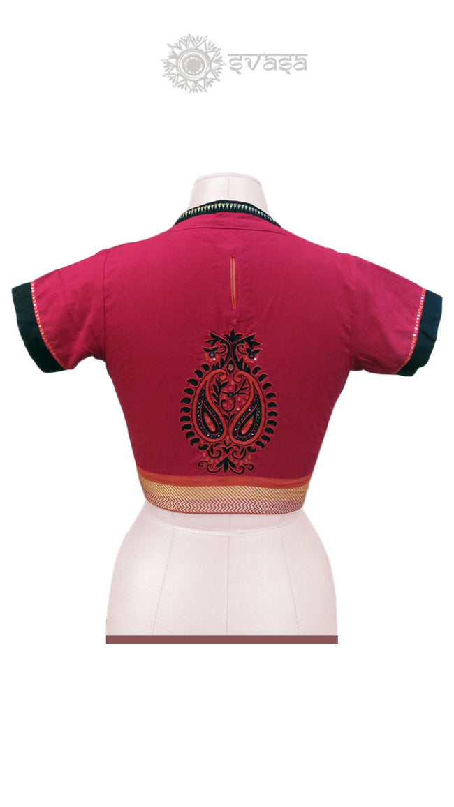 Handcrafted Red and Black Embroidery Blouse - SvasaDesign