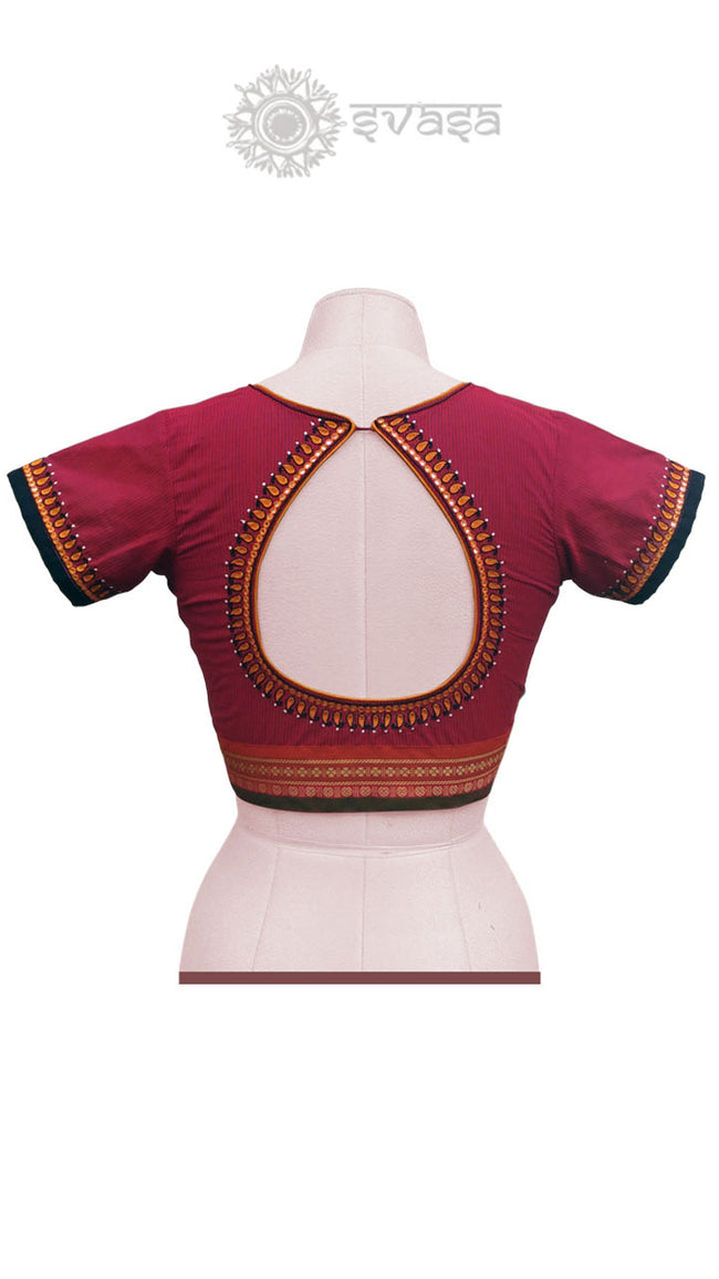 Handloom Red Blouse With Tear Drop Neck - SvasaDesign