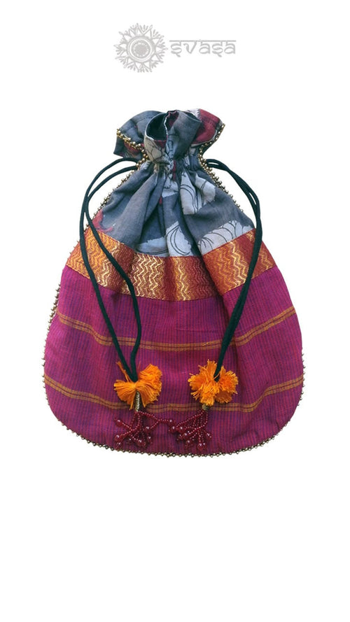 Potli Bag - kalamkari and mangalgiri fused potli