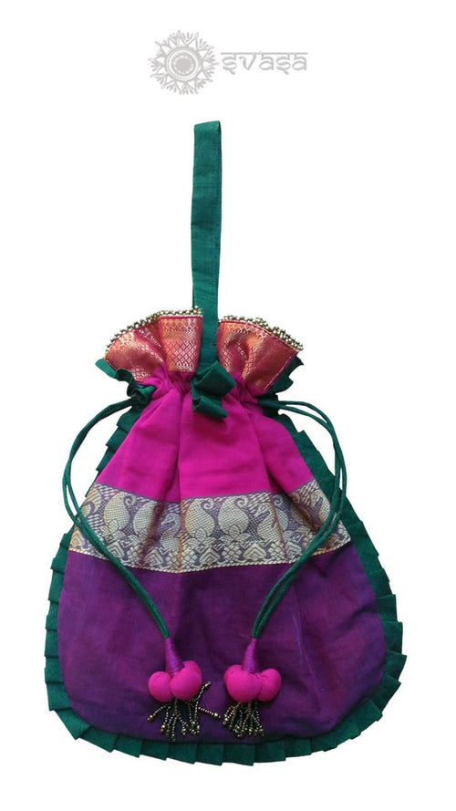 Pink and Purple Potli Bag
