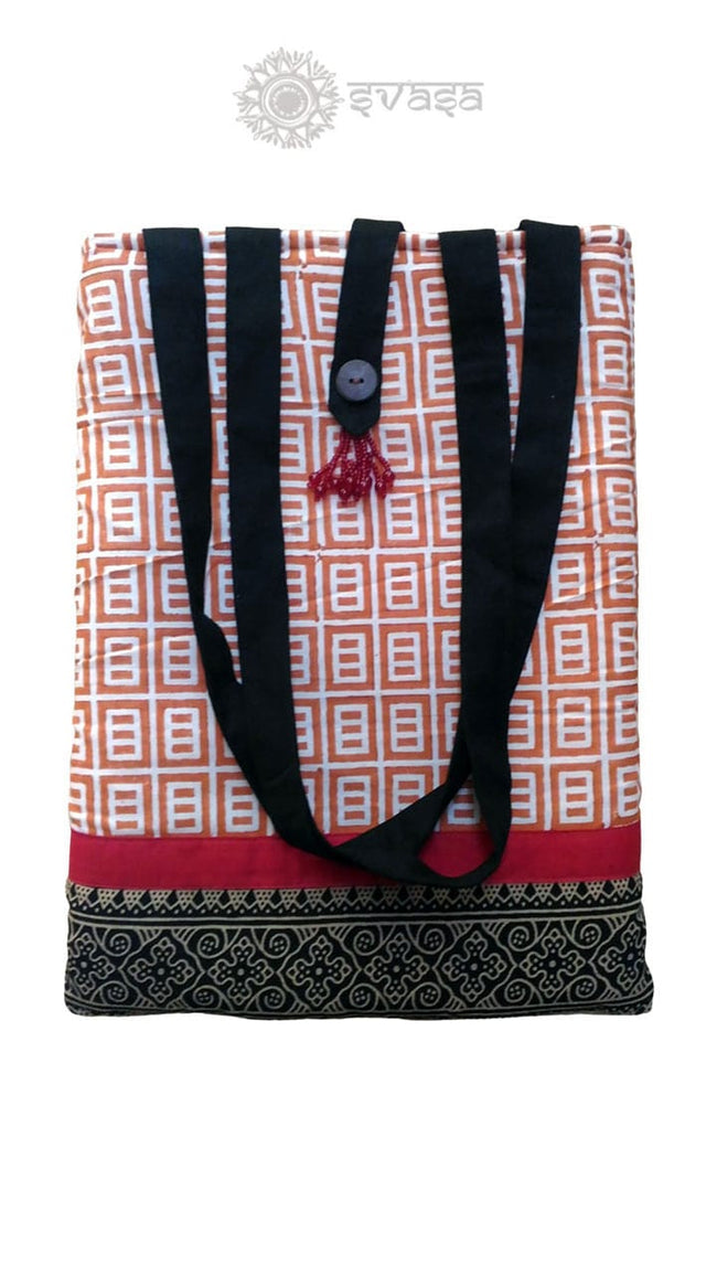 Potli Bag - Red Hand Block Printed Bag - SvasaDesign