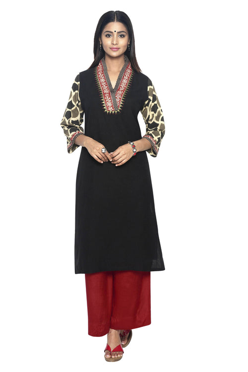 Black Linen Kurta with Ajrakh sleeves