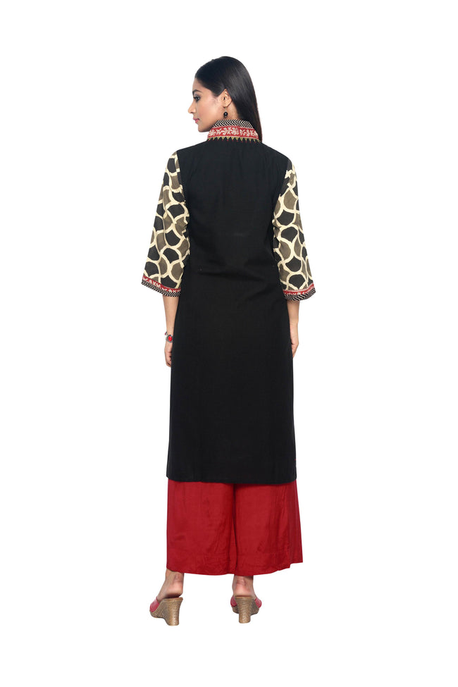 Black Linen Kurta with Ajrakh sleeves - SvasaDesign