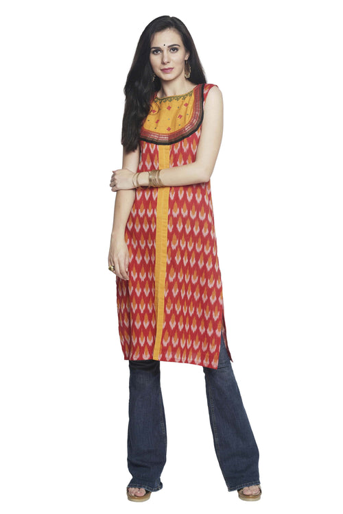 Red Yellow Ikkat Cotton Kurta