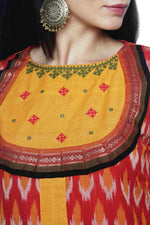 Red Yellow Ikkat Cotton Kurta - SvasaDesign
