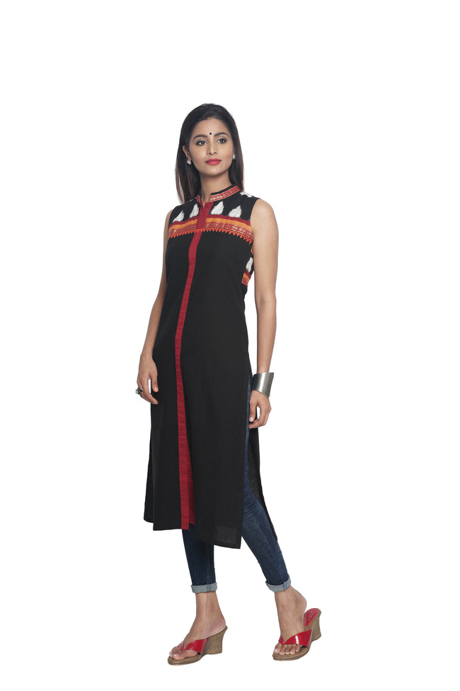 Black Linen Sleeves Kurta - SvasaDesign