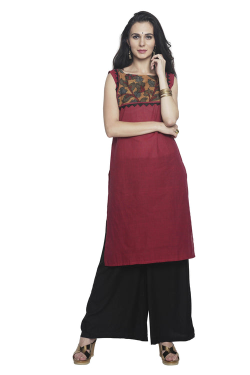 Maroon-Red Pin Striped Mangalgiri Kurta