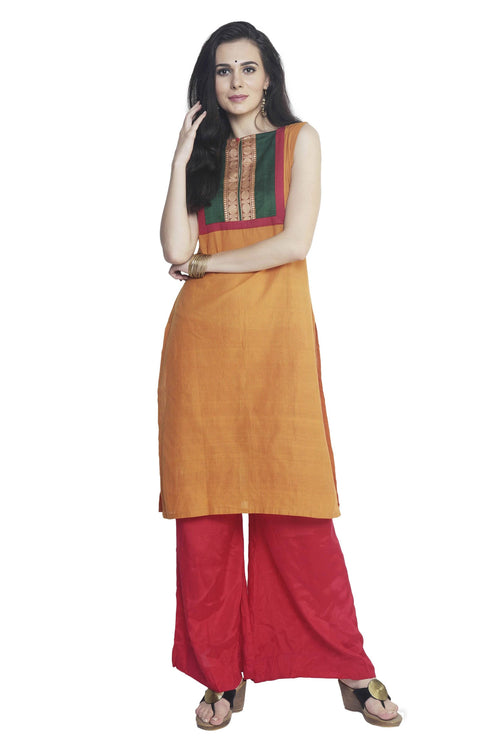 Yellow Pin Striped Mangalgiri Kurta