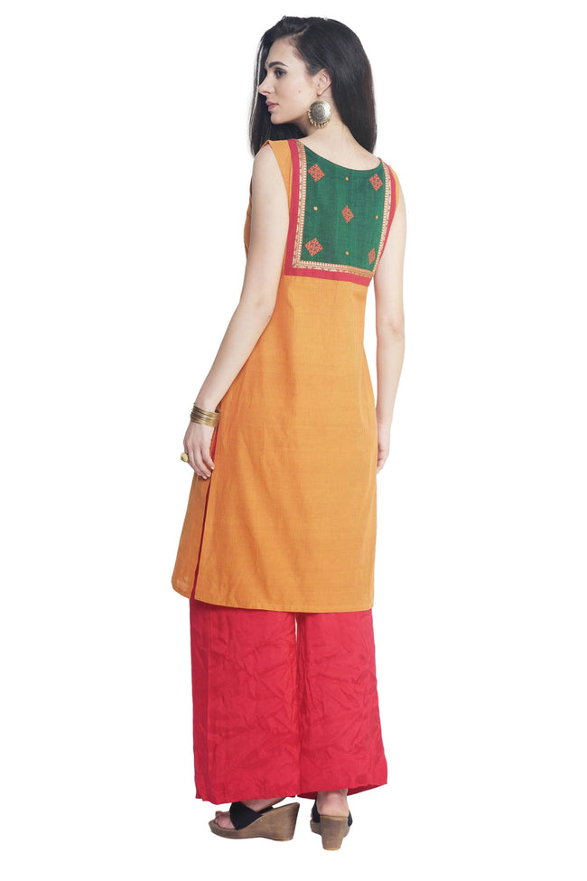 Yellow Pin Striped Mangalgiri Kurta - SvasaDesign