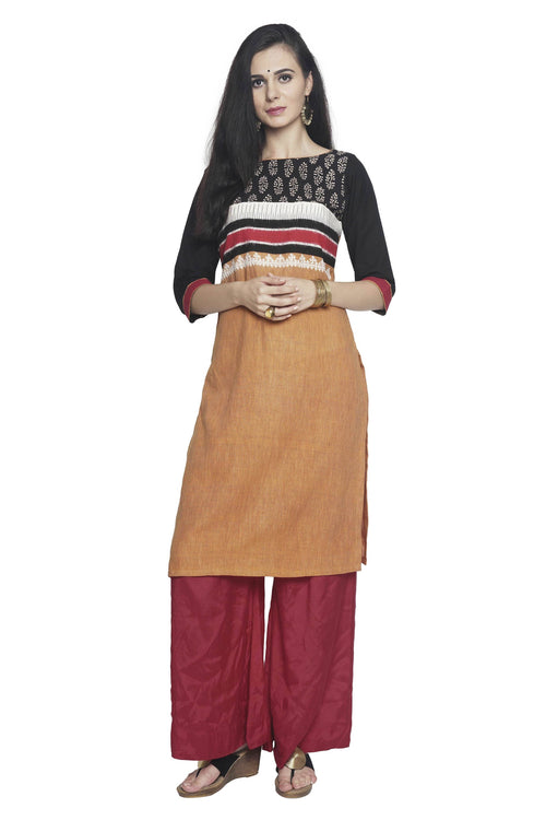 Yellow-Red Pin Striped Mangalgiri Kurta