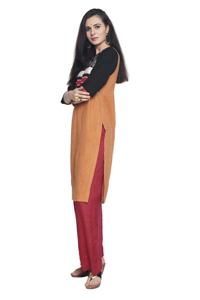 Yellow-Red Pin Striped Mangalgiri Kurta - SvasaDesign