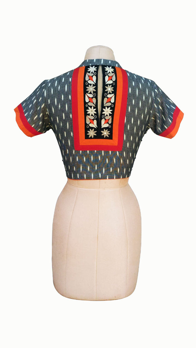 Gray Ikkat Handloom Blouse With Embroidered Work - SvasaDesign
