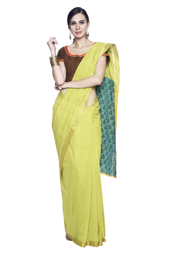Parrot Green Cotton Handloom Saree - SvasaDesign