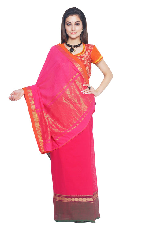 Dark Pink Chettinad Cotton Handloom Saree