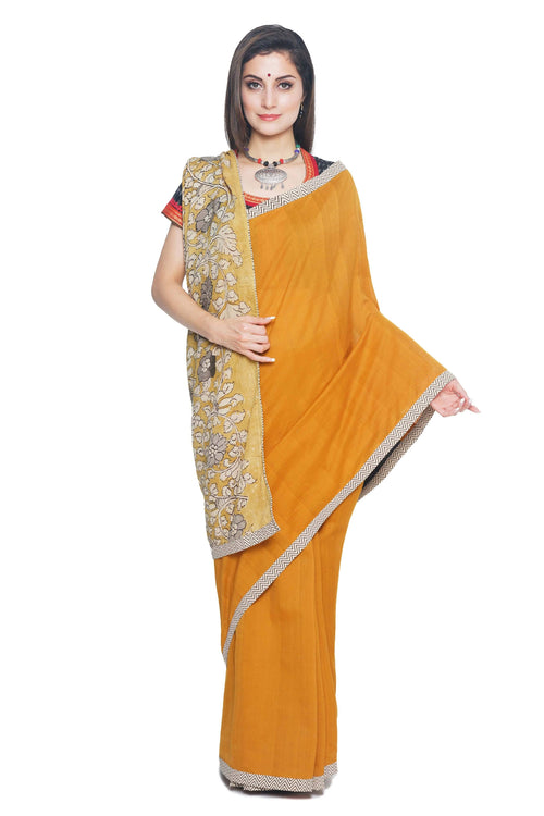 Mustard colored Cotton Handloom Saree