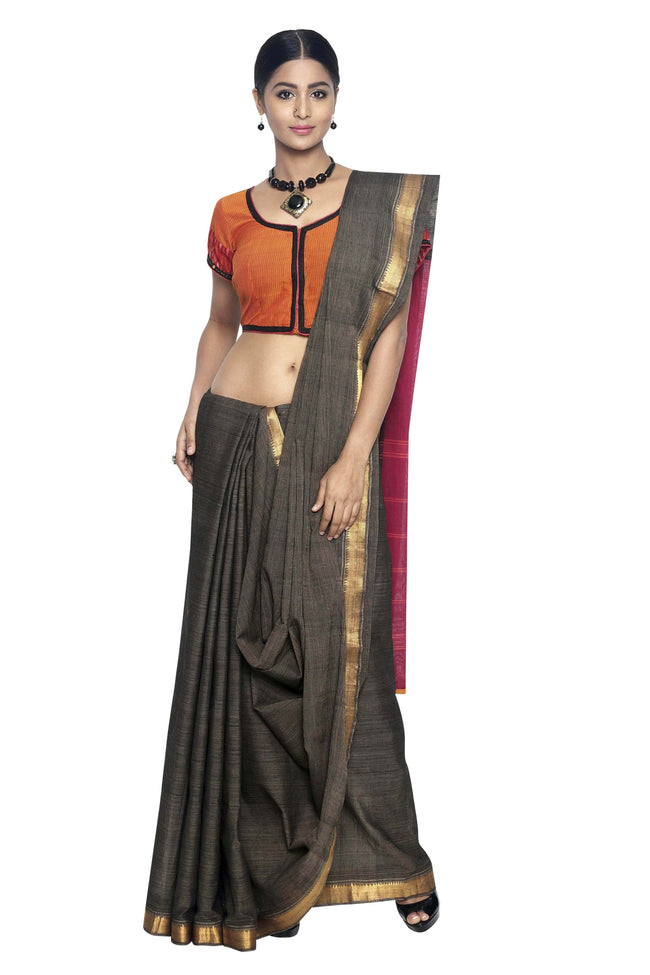 Elephant Grey Cotton Handloom Saree - SvasaDesign
