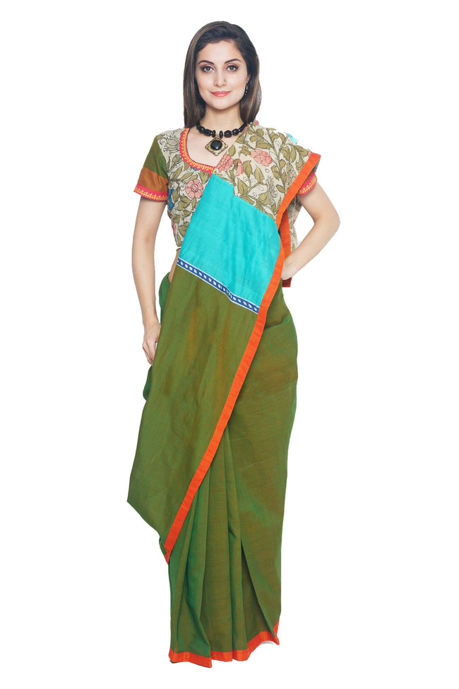 Green Cotton Mangalgiri Handloom Saree - SvasaDesign