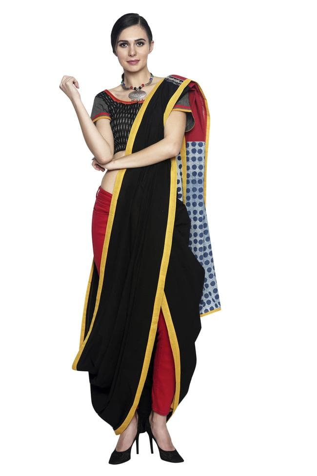 Black-Yellow Linen Handloom Saree with Indigo Pallu - SvasaDesign
