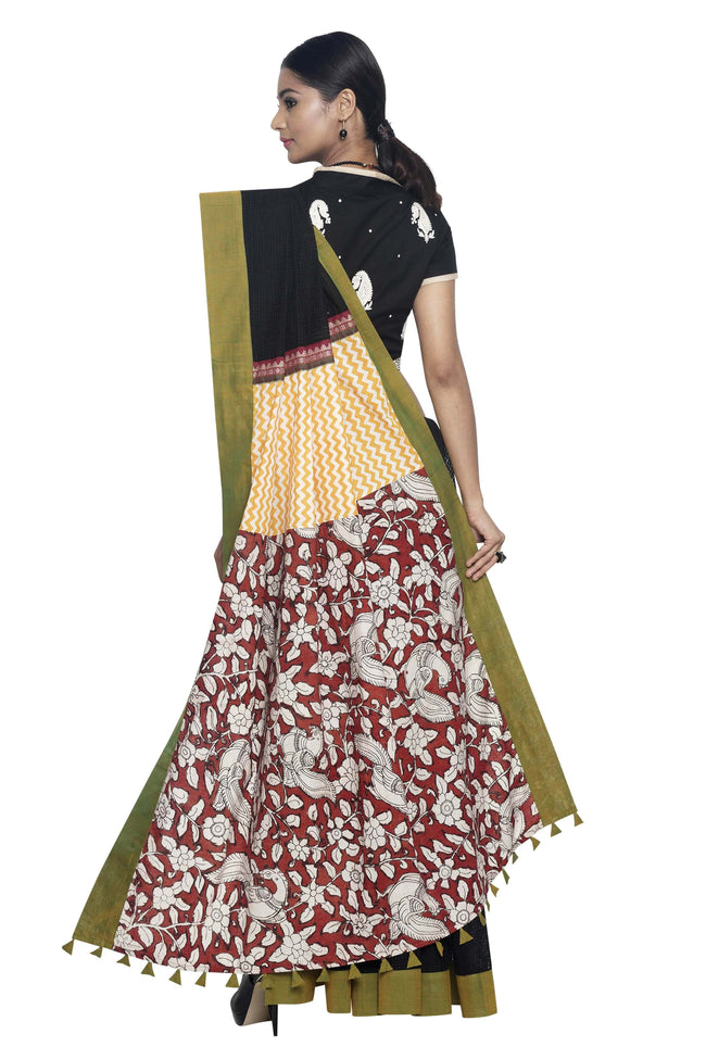 Black Missing-Checks Saree with Hand-Painted Kalamkari Pallu - SvasaDesign