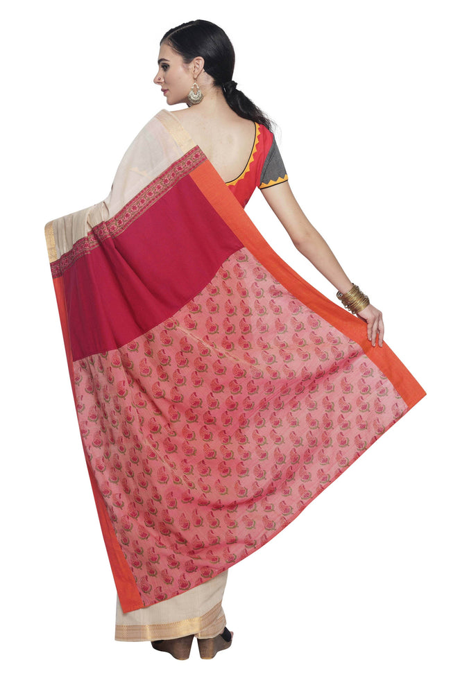 Beige-Pink Cotton Handloom  Saree with Jaipur print Pallu - SvasaDesign