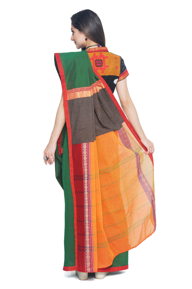 Green colored Cotton Handloom Saree - SvasaDesign