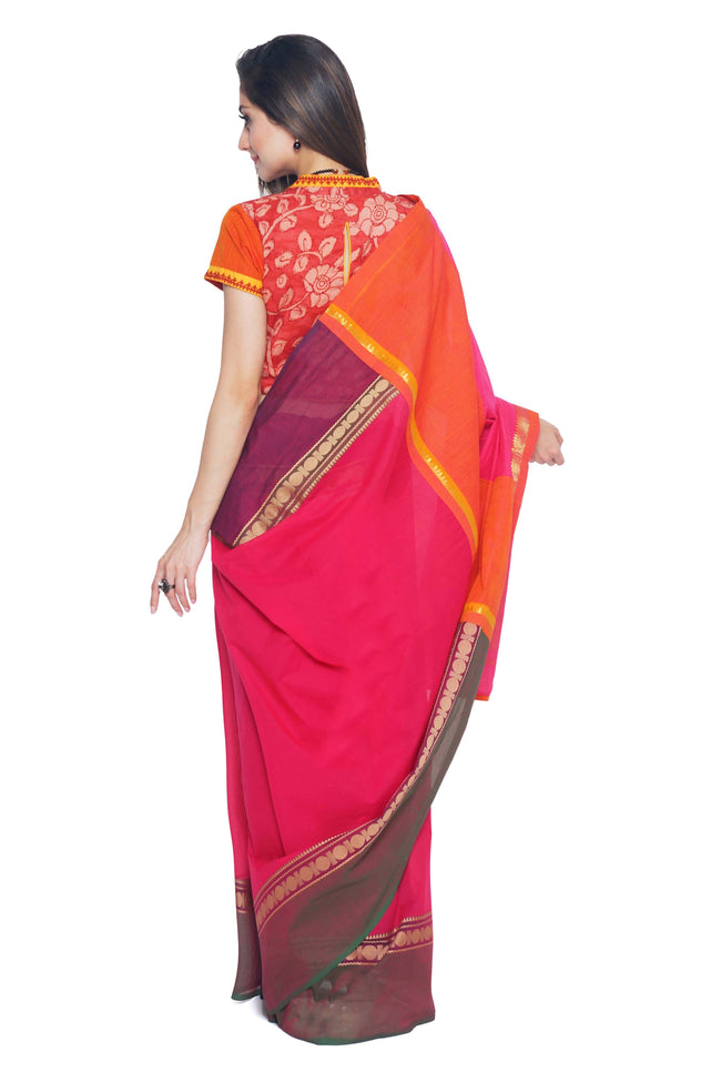 Dark Pink Chettinad Cotton Handloom Saree - SvasaDesign