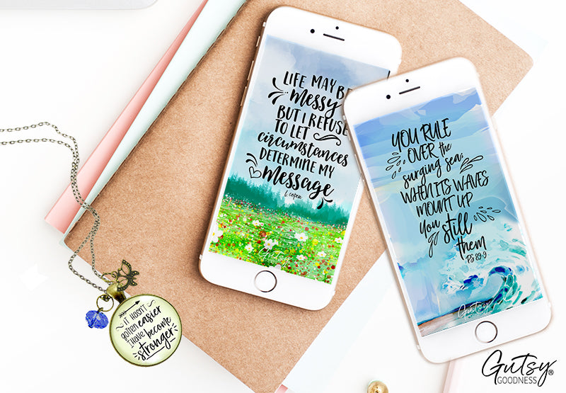 Stay encouraged or inspired! Grab one of our free downloads of inspirational or scripture wallpapers for your phone, tablet or desktop from Gutsy Goodness Jewelry.