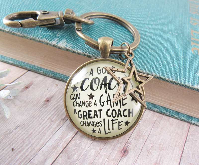 Coaching Keychain Any Sport Great Coach Changes Life Thank You Gift Men Women - Gutsy Goodness Handmade Jewelry