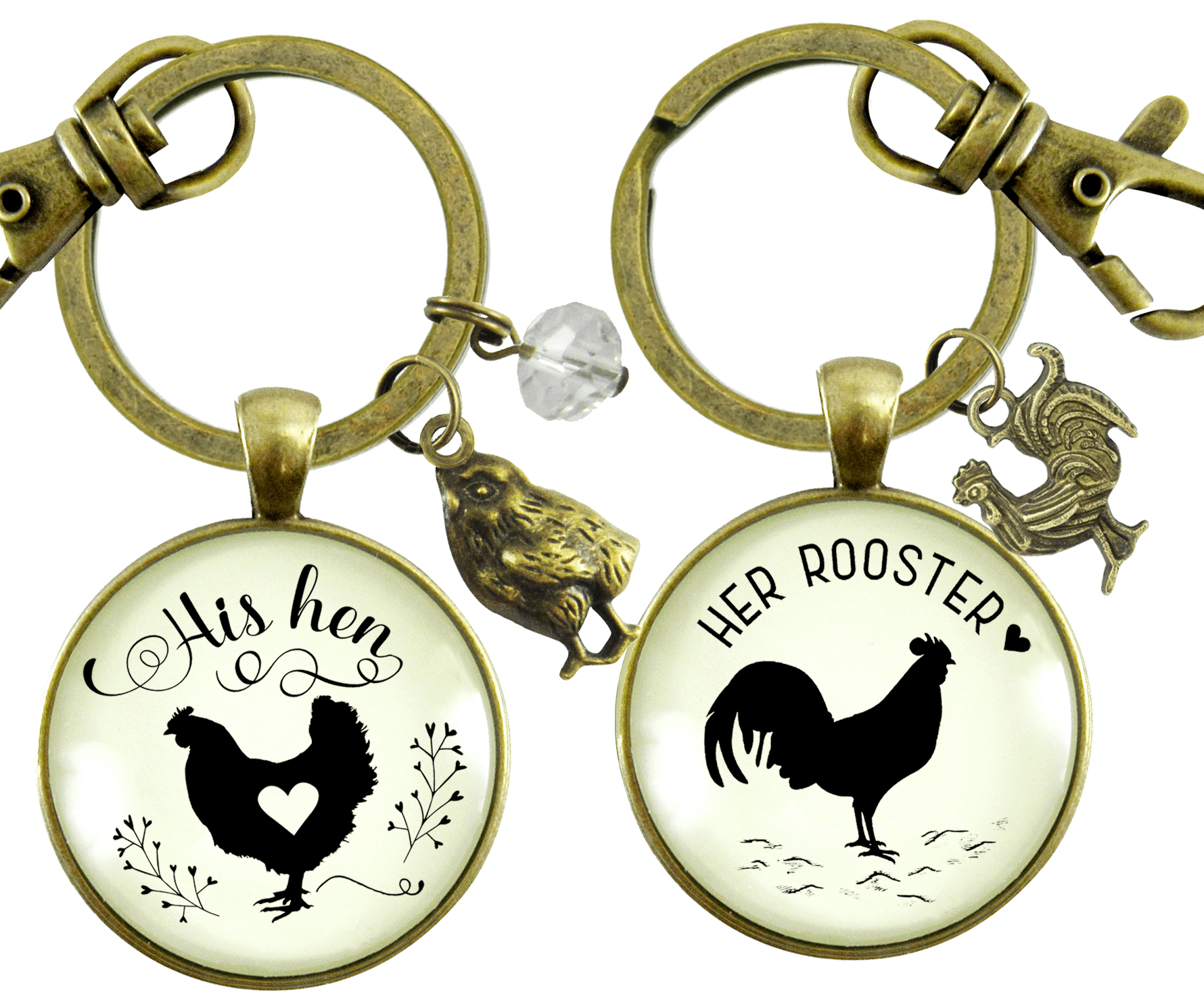 His Hen Her Rooster Keychain Set For Chicken Family Vintage Inspired Jewlery - Gutsy Goodness Handmade Jewelry