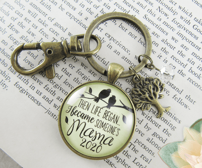 New Mom Keychain Then Life Began Mama 2020 Meaningful Mom Jewelry Gift - Gutsy Goodness