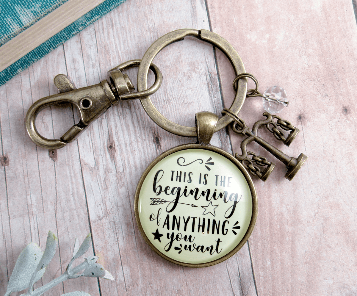 Law School Graduate Keychain This Is The Beginning Future Lawyer Graduation Justice Scales Jewelry - Gutsy Goodness Handmade Jewelry