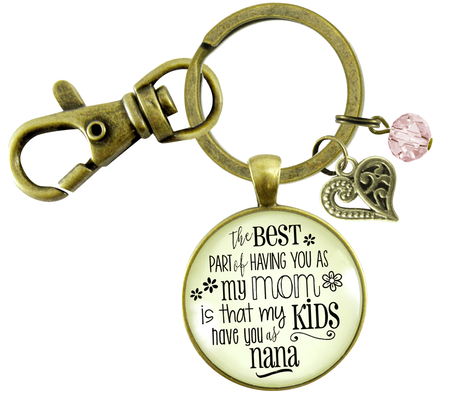 Nana Keychain Best Part You as Mom Kids Grandma Jewelry Gift Daughter - Gutsy Goodness