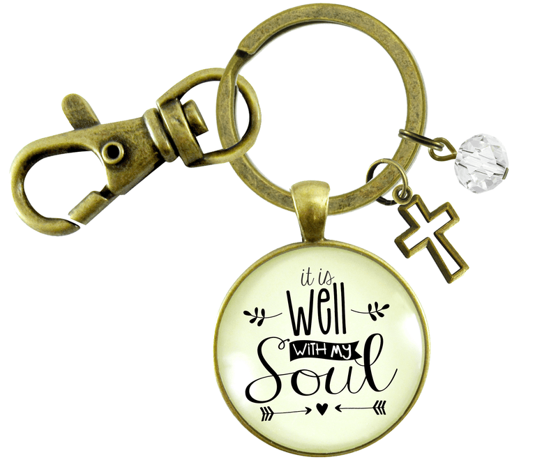 Inspirational Faith Keychain It is Well with My Soul Hymn Jewelry