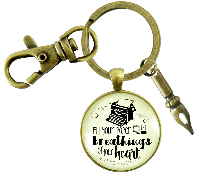 Writing Keychain Fill Your Paper Style Woodsworth Literary Quote Typewriter Pendant Gift - Gutsy Goodness Handmade Jewelry