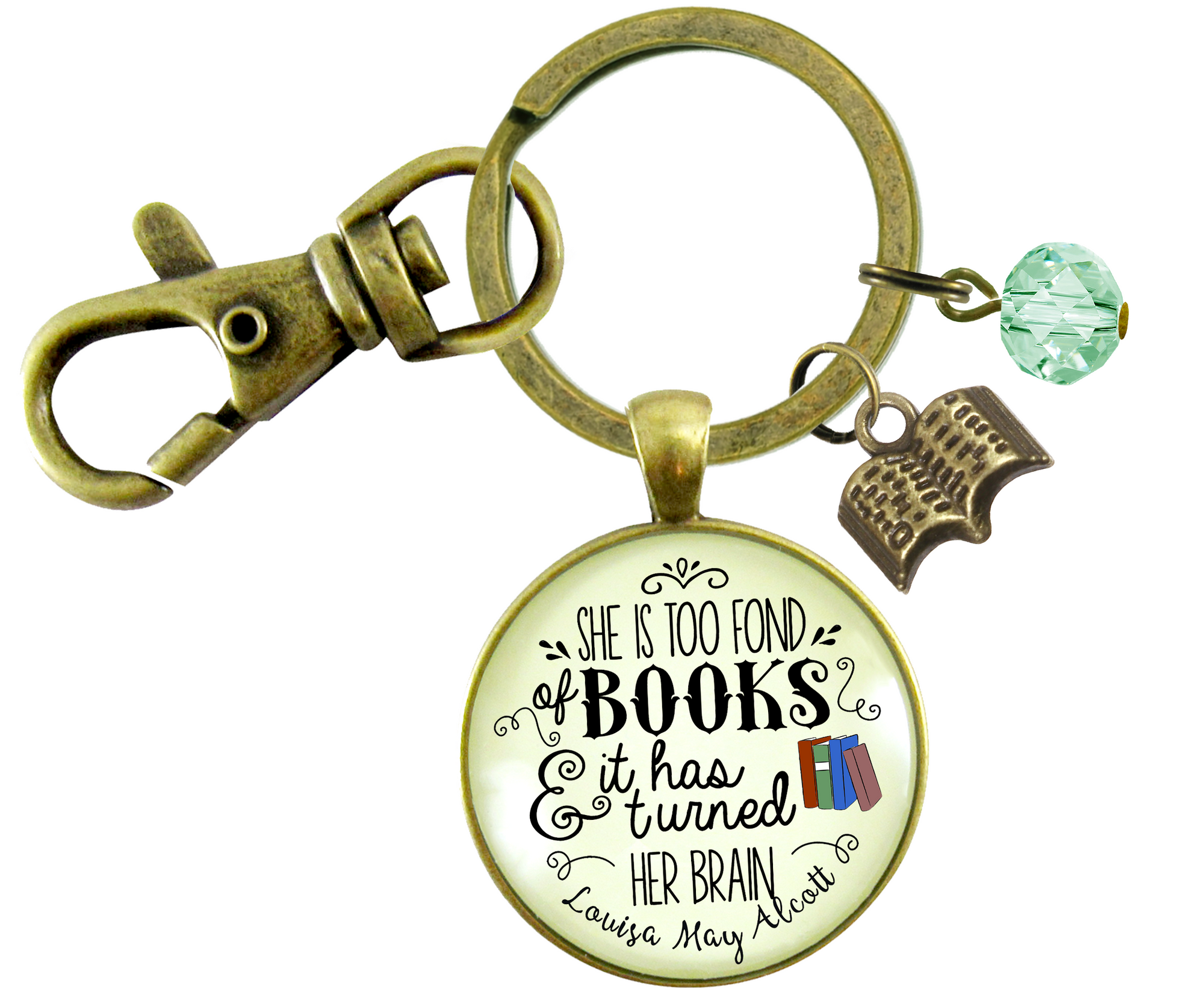 Book Keychain She Is Too Fond Literary Quote Louisa May Alcott Jewelry Green Charm - Gutsy Goodness